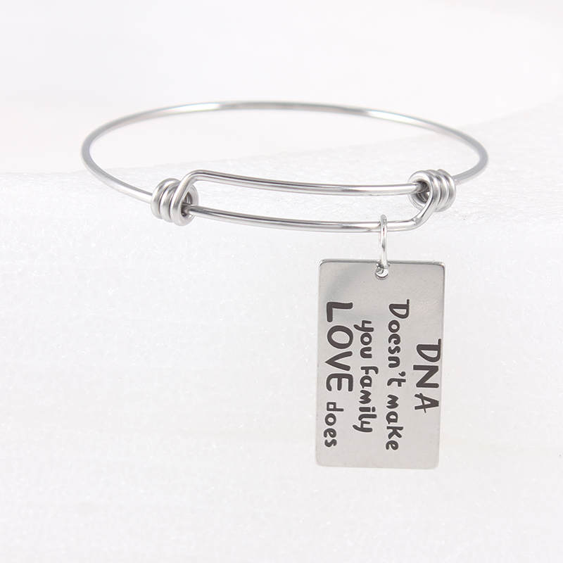 316L Stainless Steel Adjustable Wire Expandable Bangle Charm Bracelets Gifts For Women Jewelry in Bangles from Jewelry Accessories