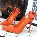 Saltos Altos das senhoras Sapatos de Salto Alto Coreano Doce Beautywomen Borboleta Fina Camurça High-salto alto Apontado zapatillas deportivas mujer