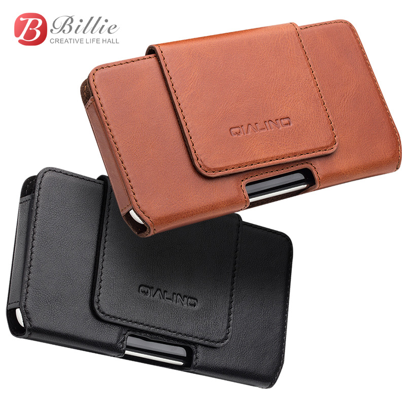 QIALINO Phone Bag Case For iPhone X Waist Belt Bag Pocket Cover for iPhone 10 luxury Genuine Leather Case for iPhone X 5.8 inch