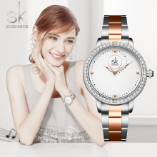 Shengke Watches Women Luxury Ladies Watch Luxury Diamond Quartz RoseGold Wrist Watch Reloj Mujer Montre Femme new brand women watches women genuine leather reloj mujer luxury dress watch ladies quartz rose gold wrist watch montre femme