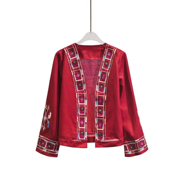 Kimono Cardigan Women Autumn Summer Cardigan Long Flare Sleeve Vintage Boho Ethnic Patterns Embroidery V Neck Cotton Tops Ladies