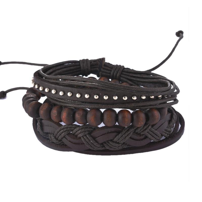 MJARTORIA Multilayer Leather Bracelets For Women Wood Bead Bs