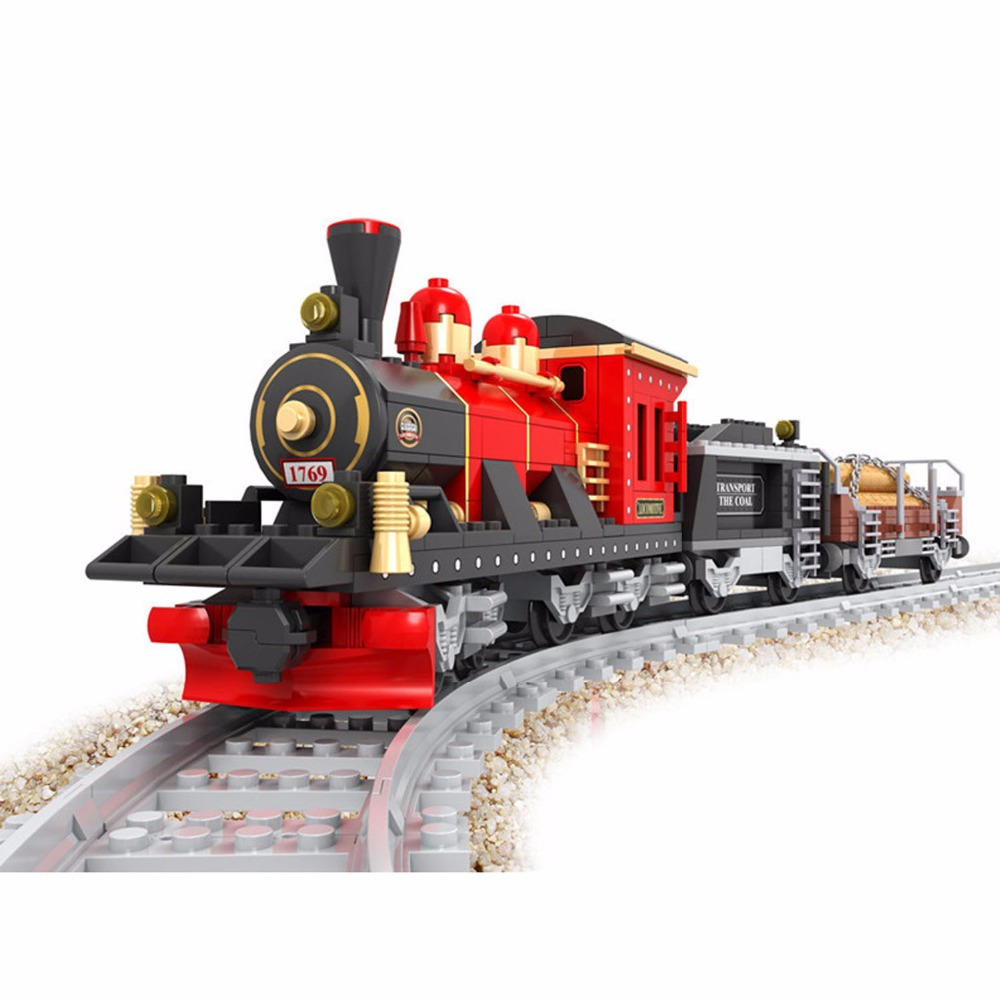 410 PCS Classical Train,Vintage Railway Train Building Toy,3D Building Blocks Toys Set for Kids,Train Model For Kids Xmas Gift 78pcs hand crafted wooden train set triple loop railway track kids toy play set