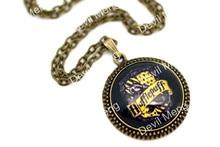 Hogwarts Hufflepuff Crest Pendant Necklace, Antique Glass