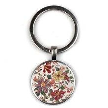 Glamour Henna Yoga Amulet Keychain Lady Round Glass Convex Pendant Keyring Jewelry Mandala Symbol Bohemian Key Chain Women Gift