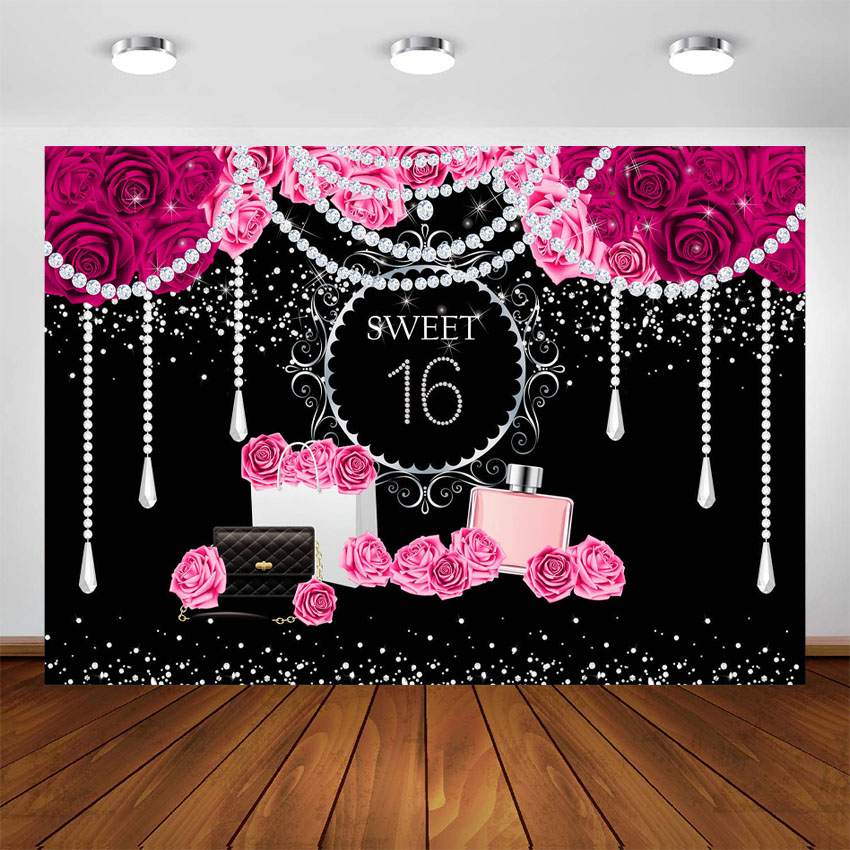 Black and Red Sweet Sixteen 16 Birthday Banner Personalized Party Backdrop