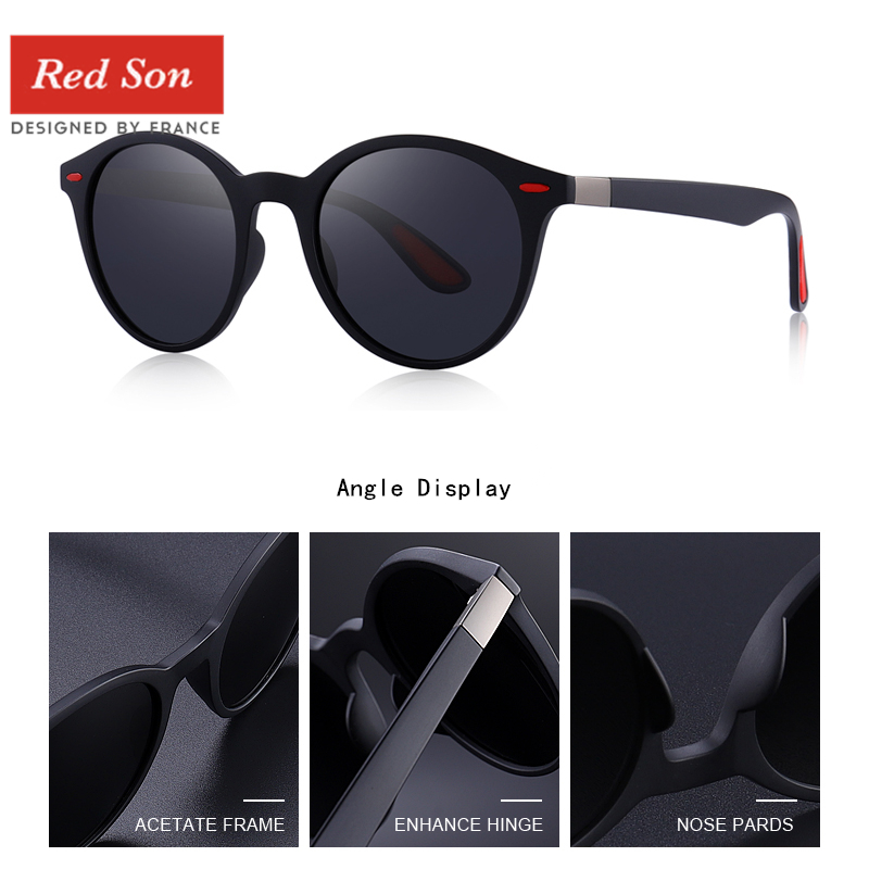 Image 5 - Red Son 2019 Fashion Ultralight Design Polarized Sunglasses Men Women Oval Frame TR90 Legs Round Sun Glasses Driving goggles-in Men's Sunglasses from Apparel Accessories