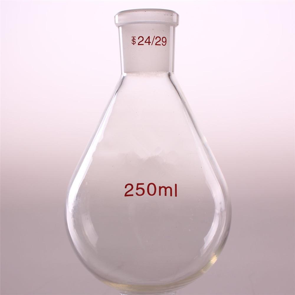 250ml 24/29 High Quality Flask Eggplant Shape Lab Evaporating Distillation Glass High Borosilicate Laboratory Supplies 300mm 24 29 joint borosilicate glass jacket allihn bulb condenser distillation for laboratory