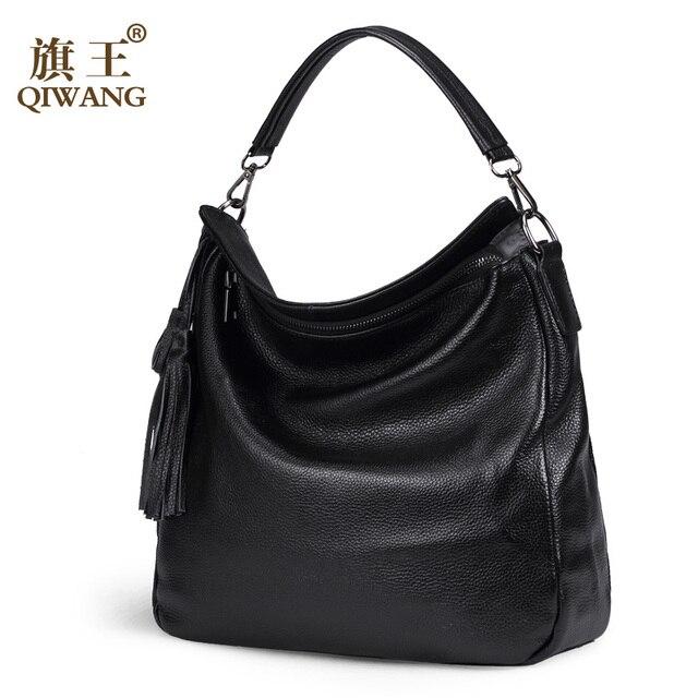 Qi Women Bag Genuine Leather 2017 Casual Handbags For Hobo Designer Famous Brand
