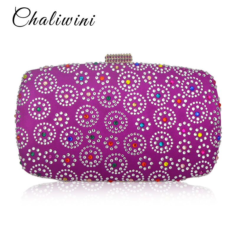 Hot Sale Fixed Rhinestone Women 3Color Flower Evening Bag Fashion Handbags Purses Lady Wedding Bridal Crystal Clutch