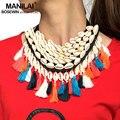 MANILAI Bohemian Handmade Shell Declaração Gargantilha Colares Mulheres Moda Multicolor Borla Maxi Colar Grande Colar de Jóias