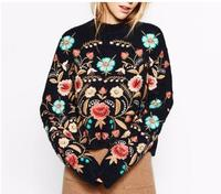 2018 Spring New Design Cozy Embroidery Flower Sweater Ladies Retro Floral Knitwear Vintage Embroidered Sweaters Mother
