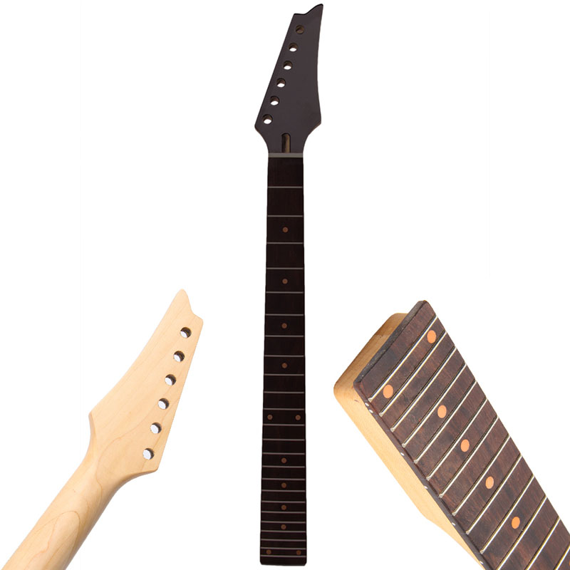 NewElectric Guitar Neck 24Fret Square Heel Rosewood Fretboard Black Triangular Head