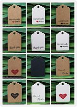100Pcs 30*20mm Small Paper Handmade With Love Jewelry Packaging Labels Wedding/Birthday Gift Hang Tags Product Note Price Tags(China)