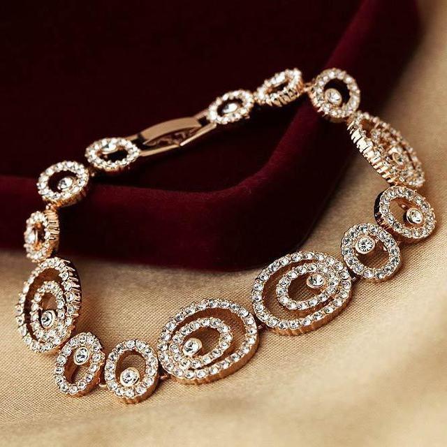 Original Austria cristal plateado del oro Scrollwork charm enlace Braclet y cadena brazalete para para el brazo