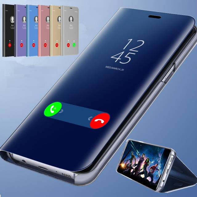 Smart Mirror Flip Phone Case For Huawei Honor 8X Max 8C 8A V20 V10 10 9  Lite Clear View Cover Portafoglio Spec P Smart 2019 Case