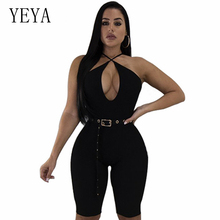 YEYA Summer Playsuit Sexy V Neck Spaghetti Strap Short Rompers Womens Jumpsuit Backless Belted Club Wear Bodycon Female