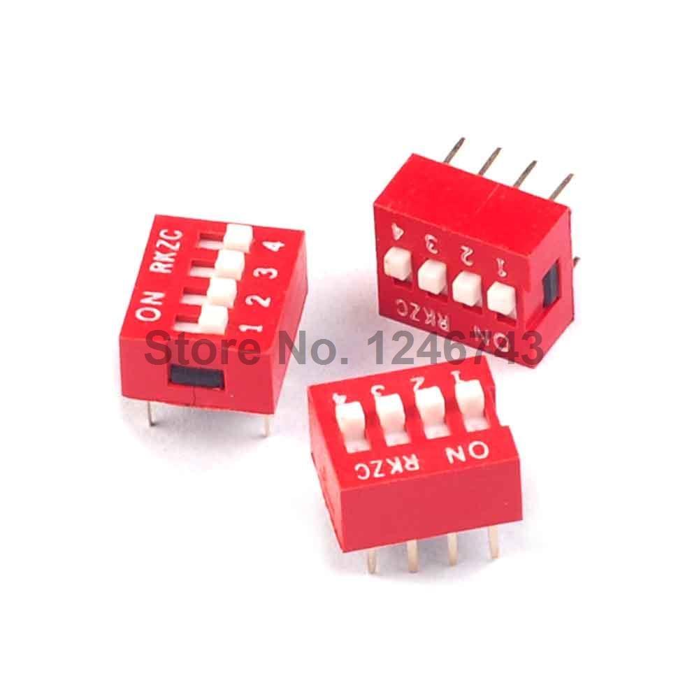 40 Piece Dip Switch 4 Pole Bit Unit Switch Red Pitch 2,54 MM//1 inch