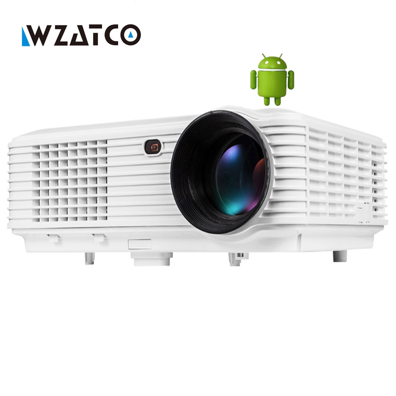 WZATCO 5000lumens LED LCD Smart projector 1080P full HD Android 4.4 WIFI home theater camera USB portable Video proyector beamer wzatco led96 tv projector full hd 1080p android 4 4 wifi smart rj45 3d home theater video proyector lcd projector beamer for ktv