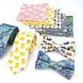 Lot 3 UNIDS (lazos Bowtie Pocket Square) Corbata de los hombres Set Gato Peces Pato Animal Print Algodón Flaco Corbata Arco Pañuelos Sets