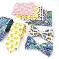 Lote 3 PCS (laços Bowtie Bolso Square) Pescoço Conjunto Laço dos homens Pato Gato Peixe Animal Print Algodão Skinny Slim Gravata Arco Lenços Conjuntos