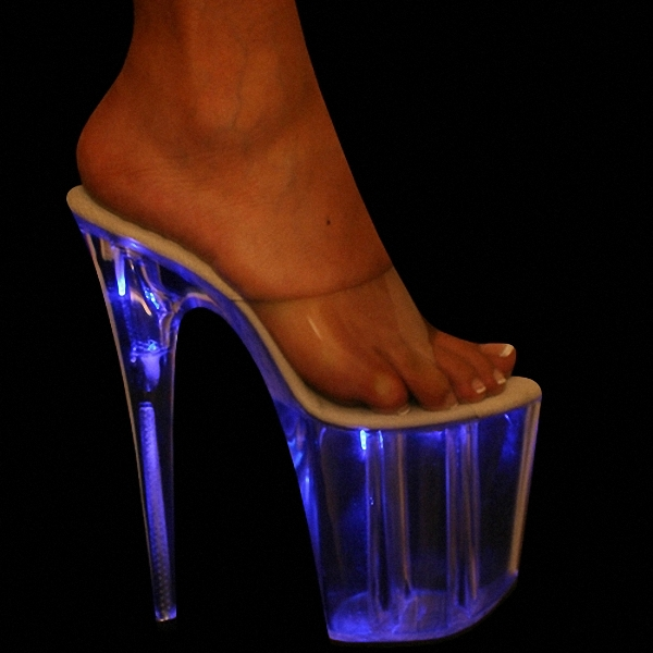 Classic 20CM Open Toe High Heel Sandals Women High Heel Platform Exotic Dancer light Shoes sexy clubbing Flashing blue shoes classic black 20cm open toe sandals super high heel platform pole dance shoes gorgeous punk 8 inch sexy rivet cover heel sandals