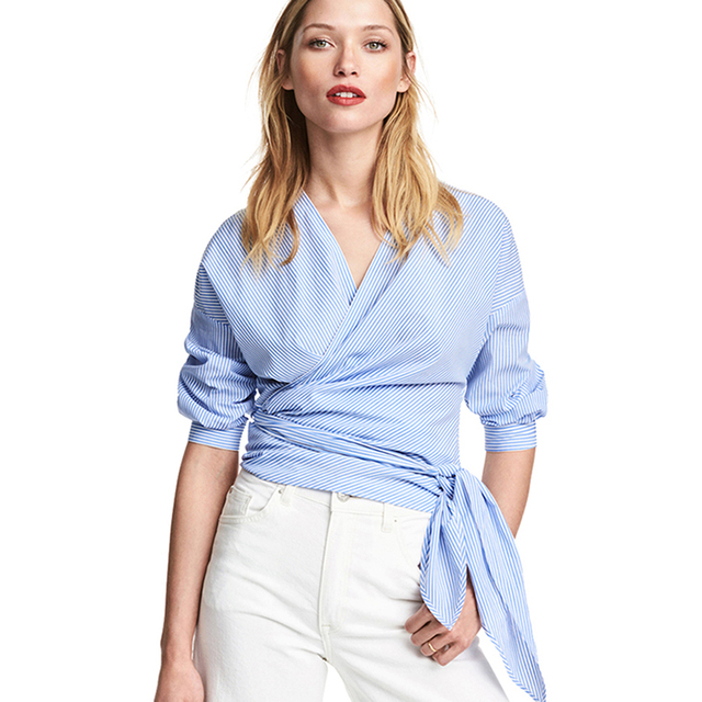 7acfea367c9 Chiffon Short Sleeves Blouse Women Blue Striped Office Tunic Plus Size  Ruffle Shirt V Neck Korean Blusa Bluz Women Tops 50N0273