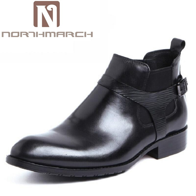 NORTHMARCH Men Boots Cow Leather Men Ankle Boots Casual Top Quality Men Shoes British Style Winter Business Casual Shoes Black 2 colors 2017 new men s full grain leather business casual popular british style ankle boots rivets pointed toe shoes for men