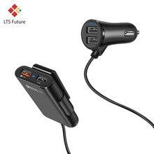 Длинный кабель, несколько портов, QC 3,0, заднее сиденье, автомобильное зарядное устройство для телефона, для Iphone, мульти Usb, заднее сиденье, авто, транспортное средство, быстрая зарядка, адаптер