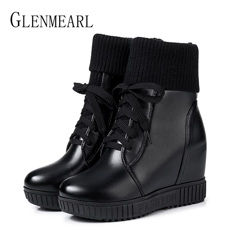 Women Boots Ankle Winter Shoes Flat Platform Lace Up Ladies Casual Shoes High Heels Martin Boots Woman Plus Size Black Round Toe sexy high heels boots women autumn winter ankle boots platform lace up round toe ladies martin boots woman stiletto pumps 14cm