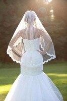 White 1 5 Meters Short Bridal Veil Soft Tulle Lace Edge Fingertip Wedding Veil Bridal