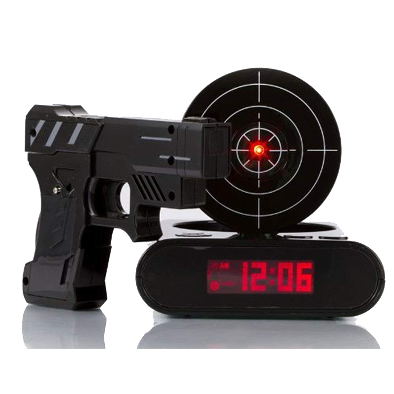 Gadget Target Laser Shooting Gun Alarm Clock Digital Electronic Desk Clock Table Watch Nixie Clock Snooze Target Gaming Clock gadget