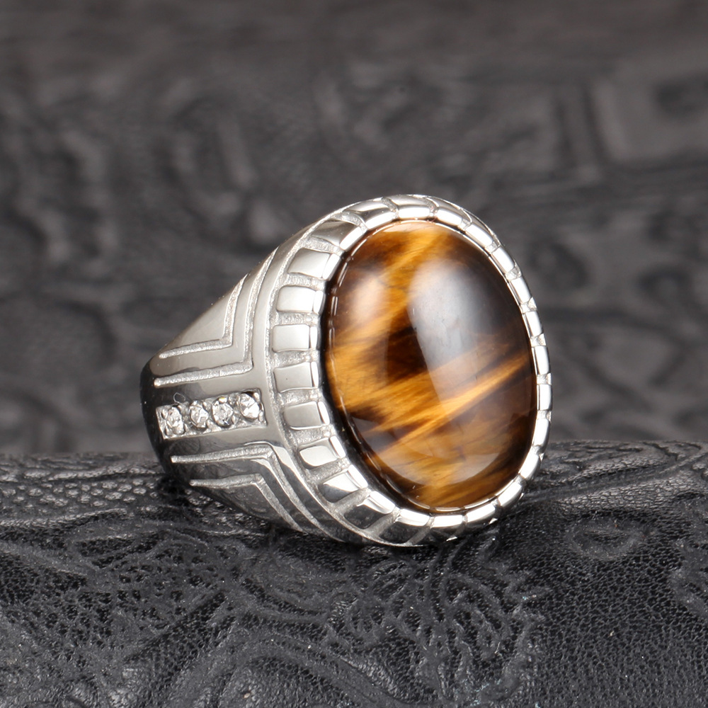 Mens Tiger Eye Stone Ring Stainless Steel Yellow Gold Finish Sz 7-13 Square Cut