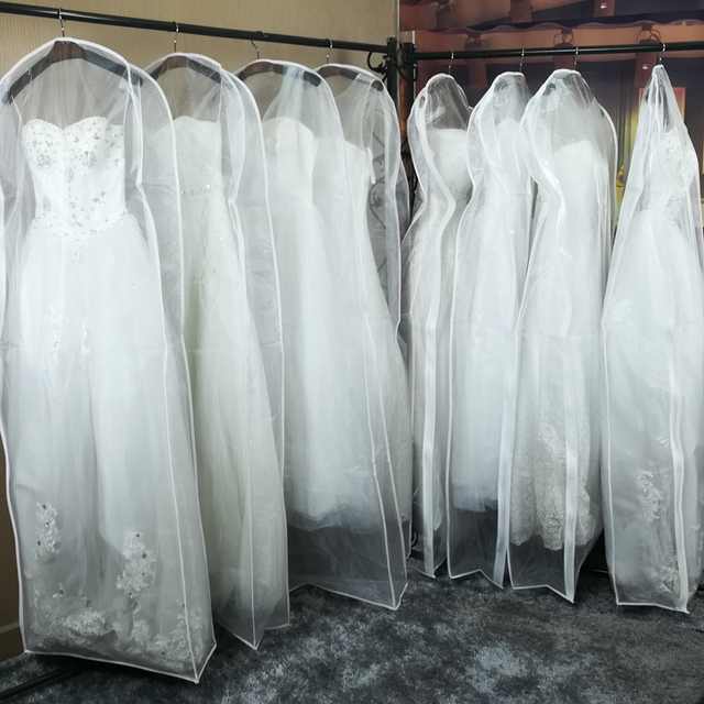 Double Sided Transpa Tulle Voile Wedding Bridal Dress Dust Cover With Side Zipper