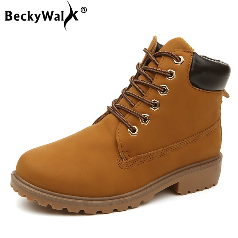 Office & School Supplies Teaching Resources Apprehensive Beckywalk Women Boots Winter Classic Martin Boots Female Lace-up Motorcycle Botas Ladies Ankle Snow Boots Womens Shoes Wsh2479