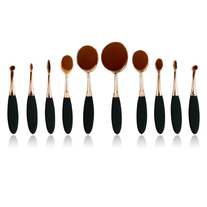 by DHL or EMS 10 Sets Pro Beauty Toothbrush Shaped Foundation Power Eyebrow Eyeliner Lip Facial Makeup Oval Cream Puff Brushes dhl ems 4 sets p f obt200 18gm60 e4