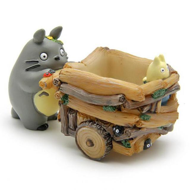 Creative Cartoon Cart Totoro Flowerpot Resin Japanese Miniature Figurines Gift Anime Figurine Ornaments Desktop Decor Home Decor 4
