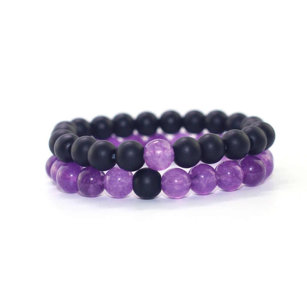 ホット販売シンプルな女性のジュエリー紫色のヒスイつや消し石コンビネーションビーズ男性女性ブレスレットカップルの腕輪ジュエリー