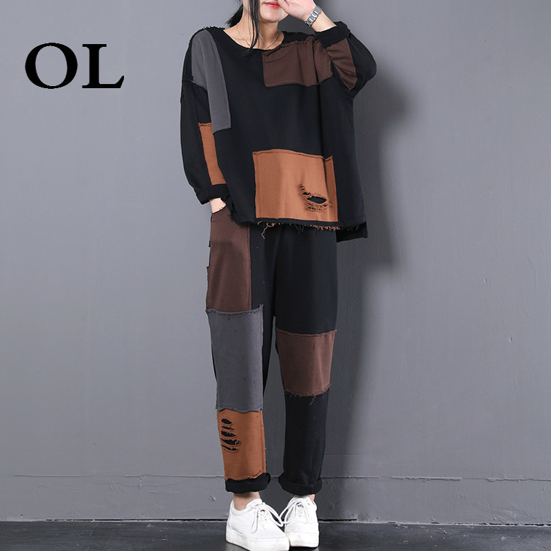 [OL] New Summer Fashion 2018 Cloth Patch Round Collar Long Sleeve T-shirt Elastic Waist Pants Casual Suit Woman Set W753