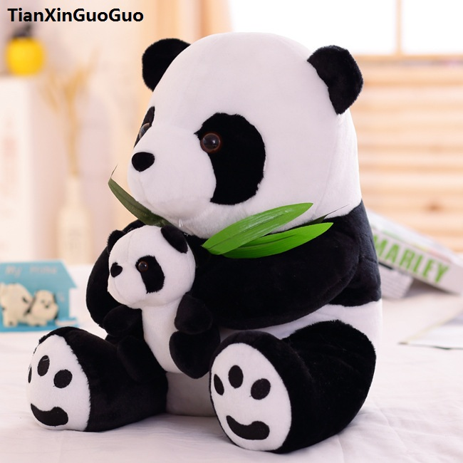 filled plush toy large 40cm sitting pose panda hug small panda plush toy soft doll Christmas gift h1430 cartoon glasses panda in yellow cloth large 70cm plush toy panda doll soft pillow christmas birthday gift x031
