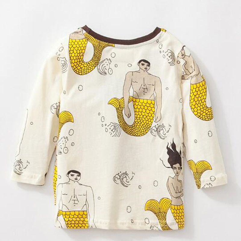 Little maven children brand baby boy clothes 2021 autumn boys cotton long sleeve tops mermaid print t shirt 51171 2