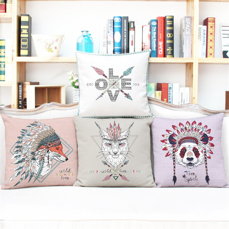 Decoruhome Cartoon Pillow Cover India Elephant Retro Bird With Flower Cushion Decorative Throw Case
