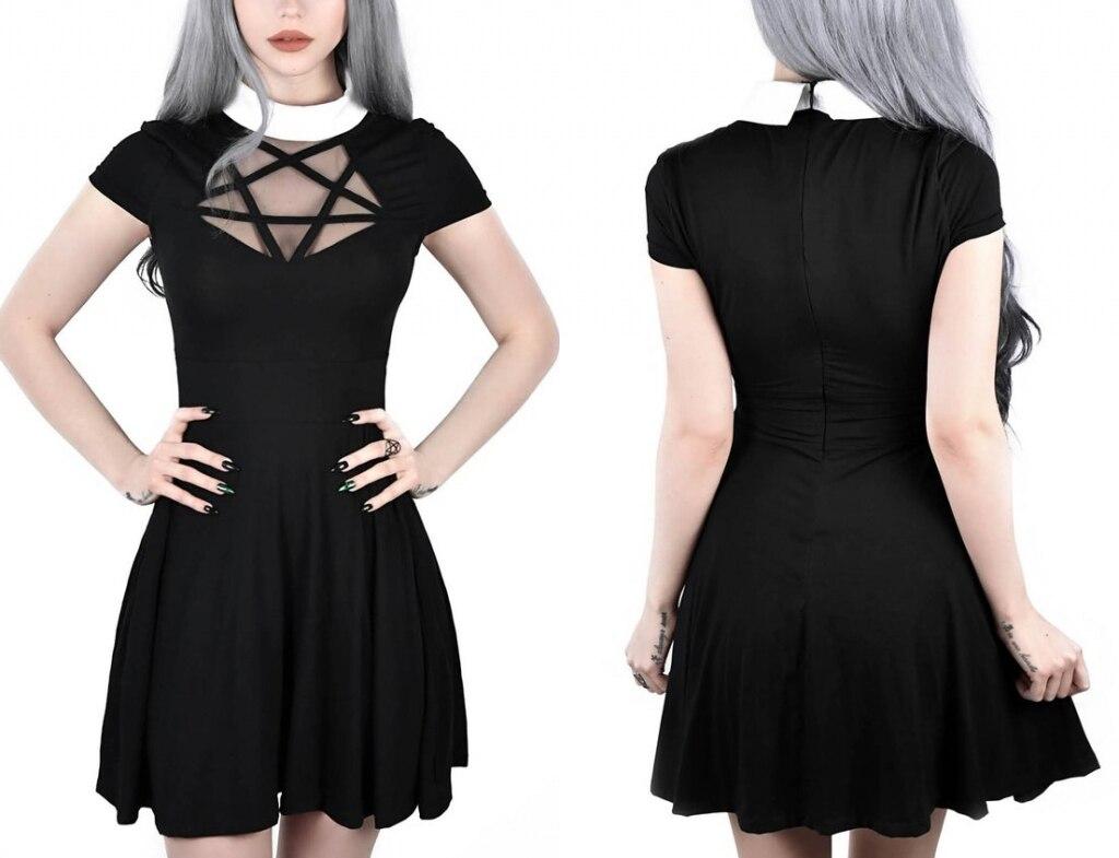 Women Dress Harajuku Party Night Peter Pan Collar Perspective Gothic Mesh Mini A-Line  Pentagram Vestidos New Female