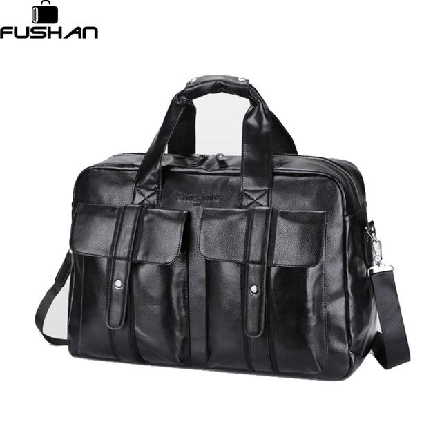 FUSHAN High Quality Leather Men's Travel Bags Large Capacity Men Messenger Bags Travel Duffle Handbags Men's Shoulder Bags