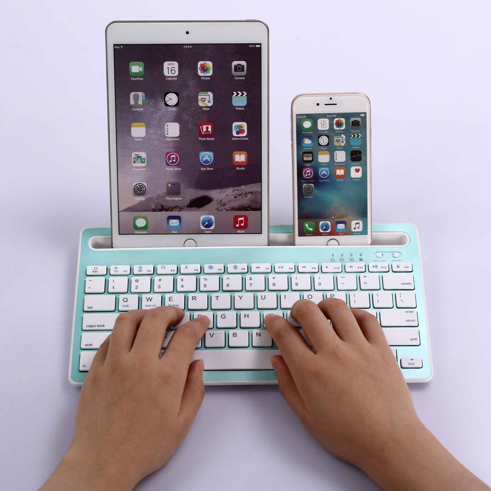 portable slim rechargeable abs wireless bluetooth multi device keyboard for ipad mini 2 3 4 ipad. Black Bedroom Furniture Sets. Home Design Ideas
