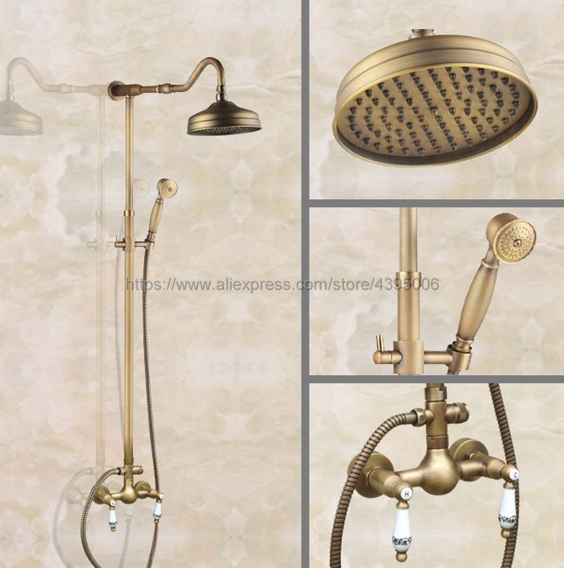 Shower Faucets Antique Brass Shower Set Faucet Double Handles Mixer Tap Handheld Shower Wall Mounted Ban502 wall mounted dual handles antique brass finish bathroom shower faucet mixer tap