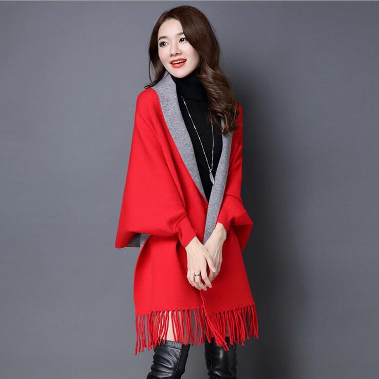 Женские свитера для зимы, Женская куртка с длинным рукавом, тонкая куртка, Длинные Топы - Цвет: Красный