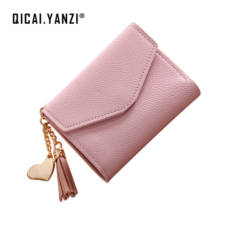 QICAI.YANZI Tassel Love Pendant Women Hasp Wallets Female Leather Short Coin Purse Wallet Carteras Mujer Card Holder Bags Z642 european and american style tassel knitting short wallet women clutch purse pu leather ladies hasp coin bags female card holder