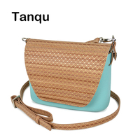 TANQU Round Wood Grain Opocket Style Small EVA Pocket Plus Leather Flap Long Adjustable Belt with Clip Closure Attachment OBag