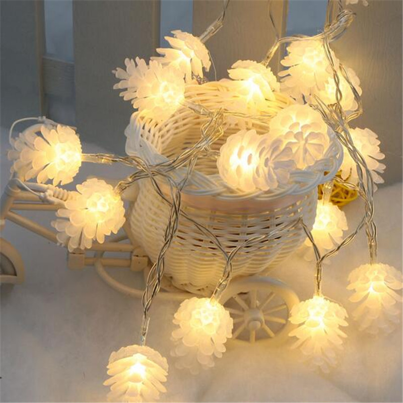 White 5M 20 LED Romantic Pine Cone Shape String Festival Fairy Light For Christmas Wedding Garden